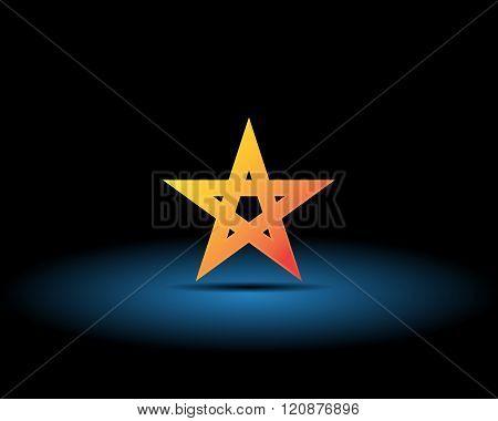 Gold Pentagram On A Black Background