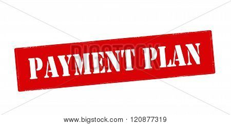 Rubber stamp with text payment plan inside vector illustration
