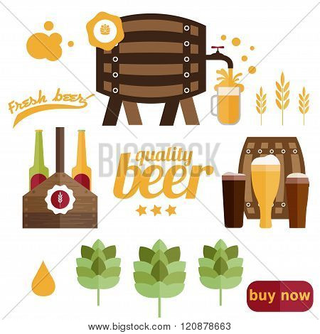 Flat Design Vector Illustration Of  Beer Theme