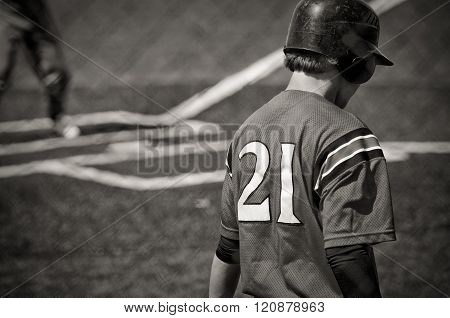 Teen Baseball Batter in black and white.