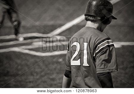 Teen Baseball Batter in black and white.