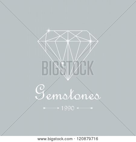 Vector diamond shopping icon emblem. White diamond shape on blue background. Jewelry store emblem. Gemstone diamond brilliant.