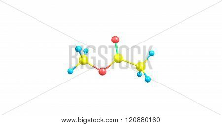 Methyl acetate or acetic acid methyl ester or methyl ethanoate is a carboxylate ester. 3d illustration