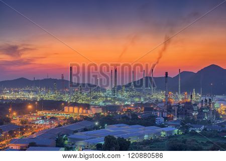 Luminosity of oil refinery plant, Twilight scene.