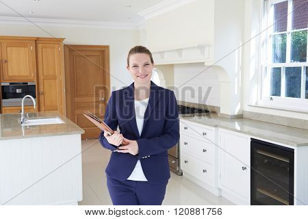 Realtor Looking Around Vacant New Property