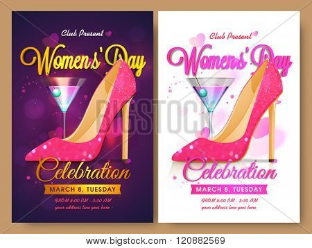 Women's Day Party celebration Invitation Card design with illustration of high-heeled sandal made by pink glitter on hearts decorated background with two color options.