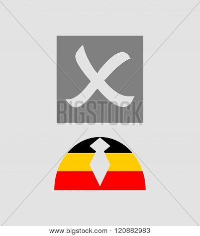 Check mark and human icon textured by germany flag