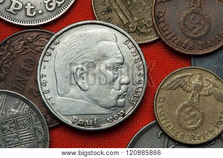 Coins of Nazi Germany. German President Paul von Hindenburg (1847 - 1934) depicted in the German two Reichsmark coin (1939). poster