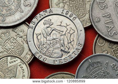 Coins of Spain. Spanish commemorative 200 peseta coin (1996) dedicated to Spanish Romantic painter Mariano Fortuny.