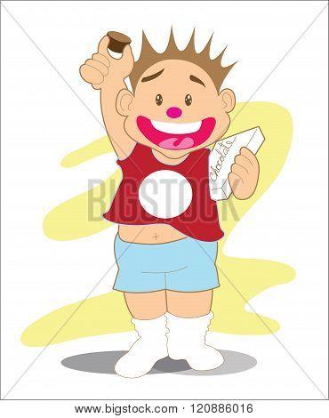 Boy And Chocolate Presenter Cartoon