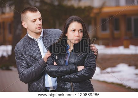 conflict offence and emotional stress in young people couple relationship outdoors