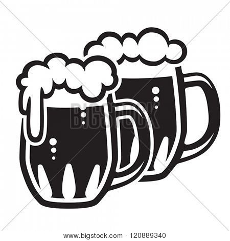 Traditional glass mugs filled with beer & foam. Vector format EPS 8, CMYK.