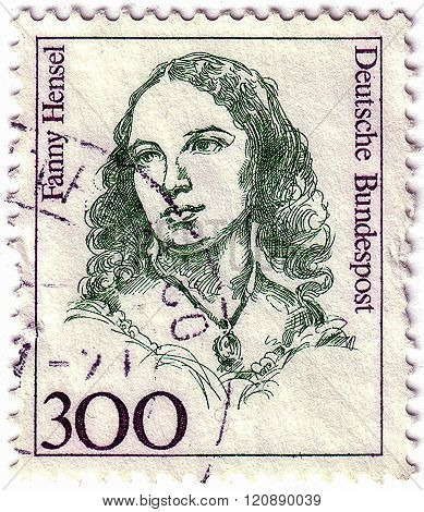 Germany - Circa 1989: A Stamp Printed In The Germany Shows Fanny Hensel, Composer, Conductor, Circa