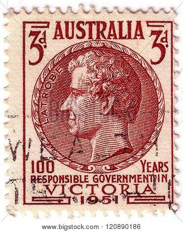 Australia - Circa 1951: A Stamp Printed In Australia Shows Charles Joseph La Trobe, Was The First Li