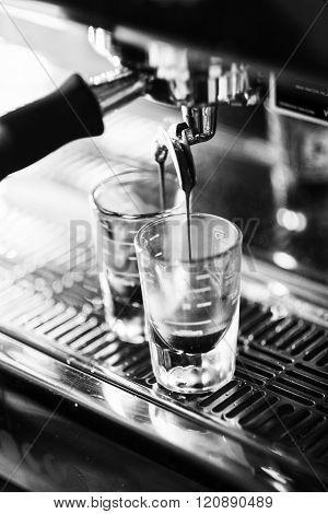 Italian Espresso Expresso Coffee Making Preparation With Machine