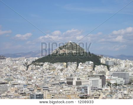 Athens City View Of Lycabettus Hill In The Sunshine