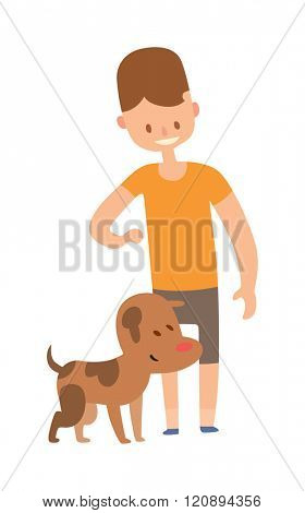 Boy and dog vector. Little boy with dog vector. Friend smiling with dog. Boy and brown dog Best friend vector. Best friend Boy and dog together. Young Boy and dog isolated on white background.