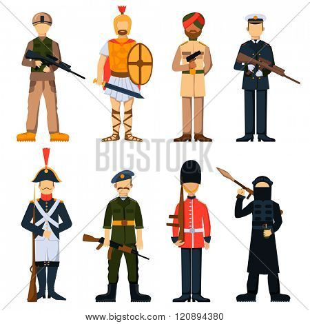Military soldiers in uniform avatar character set isolated vector illustration. Cartoon Military soldiers. Set Flat military people. Soldiers in armor. Characters. Isolated objects.