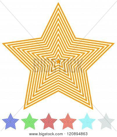 Set Of Flat Contour Star Icon In 7 Colors