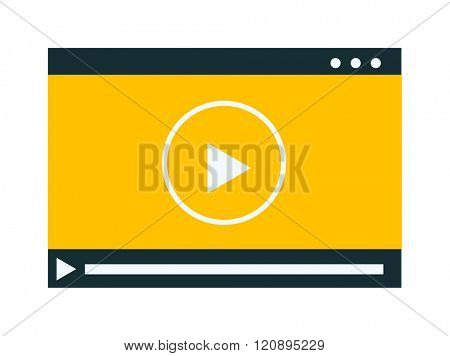 Video player vector illustration. Video player isolated on white background. Video player vector icon illustration. Video player isolated vector. Video player silhouette