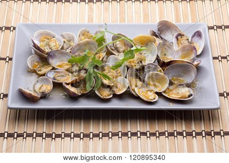 a bowl of clams a dish maritime of Cádiz (Spain)