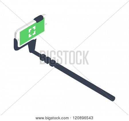 Selfie stick vector illustration. Selfie stick isolated on white background. Selfie stick vector icon illustration. Selfie stick isolated vector. Selfie stick silhouette