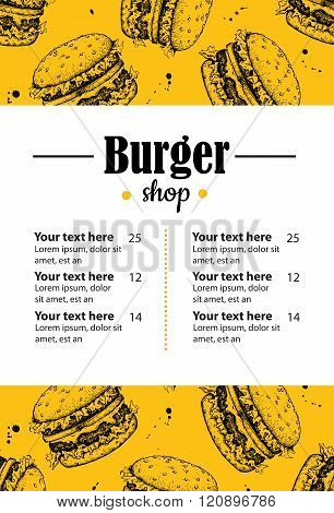 Vector Hand Drawn Burger Menu. Vintage Hand Drawn Illustration F