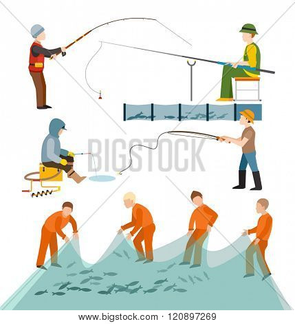 Fishing fishermen people vector illustration. Fishing fishermen people isolated on white background. Fishing fishermen people vector icon illustration. Fishing fishermen people isolated vector
