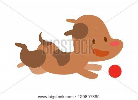 Vector Cute Doggy play and running with red ball