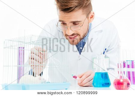 Male scientist doing experiments with rat in a laboratory