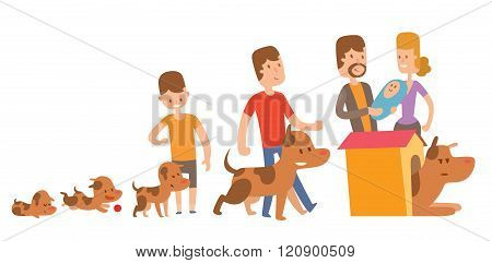 Dog life vector. Happy puppy family members