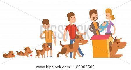 Dog life vector. Happy puppy family members