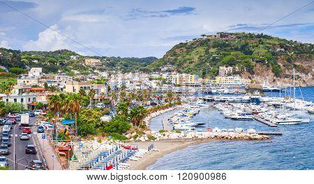 Public Beach Of Lacco Ameno Resort Town, Ischia