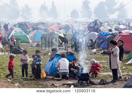 Thousands Of Immigrants Are In A Wait At The Border Between Greece And Fyrom
