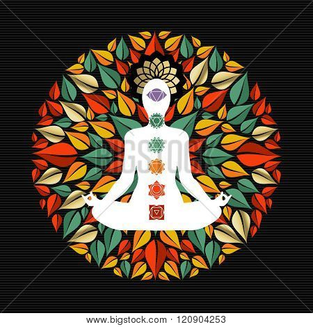Nature Mandala With Yoga Pose And Chakra Icons