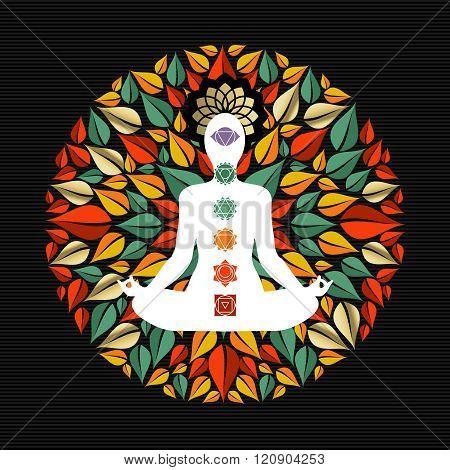 Nature Mandala With Yoga Pose And Chakra Icons