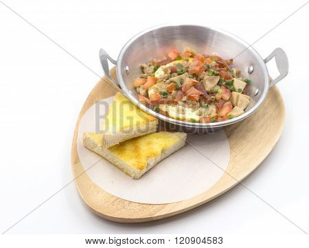 Pork Bacon Ege And Herb With Bread On Fry-pan Breakfast Menu