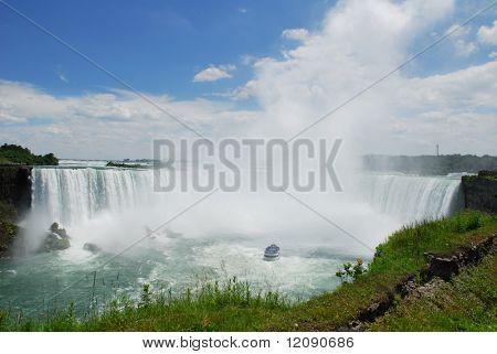 Boat tour coming very close to Niagara Falls