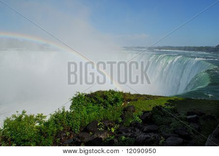 Landscape of Horseshoe falls with rainbow on a great summer day
