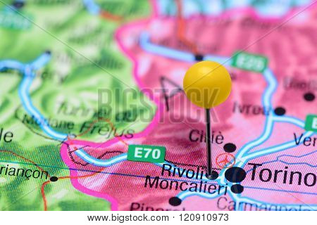 Rivoli pinned on a map of Italy