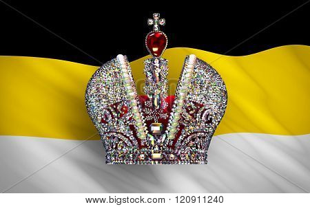 Big Imperial Crown Over Flag Of Russian Empire. 3D Scene. poster