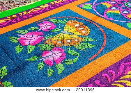 Closeup Butterfly Dyed Sawdust Lent Carpet, Antigua, Guatemala