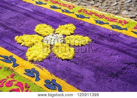 Closeup Floral Dyed Sawdust Lent Carpet, Antigua, Guatemala