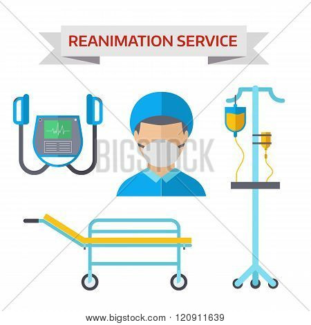 Ambulance reanimation symbols vector illustration