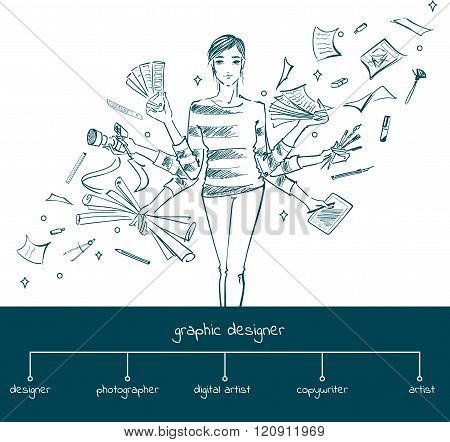 Girl Graphic Designer With Working Tools, Concept
