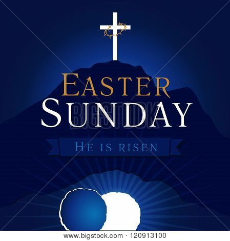 Easter sunday holy week calvary tomb card
