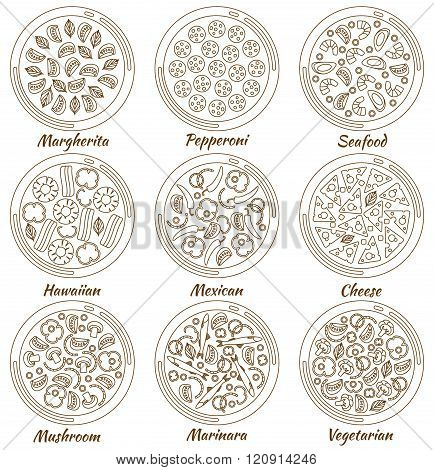 Set of nine round hot delicious tasty pizza in line style. Vector illustration of pizza Marhgerita,