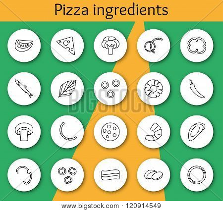 Set of ingredients for pizza in line style. Vector illustration. Info graphic elements.
