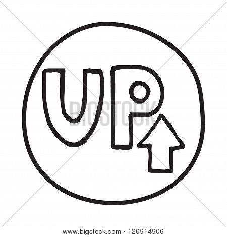 Doodle UP Arrow icon.
