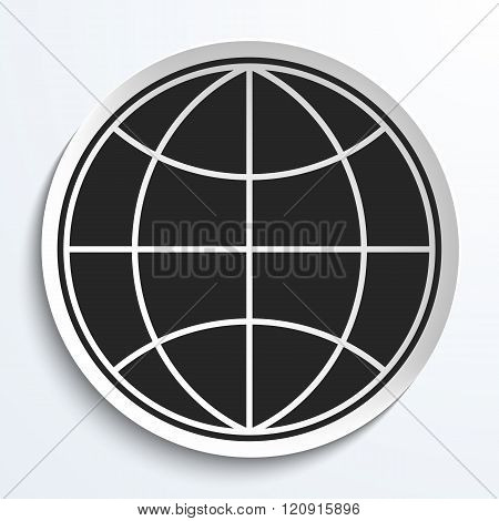 Earth Globe Icon on White Plate. Earth on Plate Vector Illustration. Black Earth with meridians and parallels. Travel and Transportation Concept.